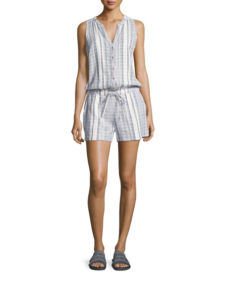 Danijel Sleeveless Striped Cotton Romper, White