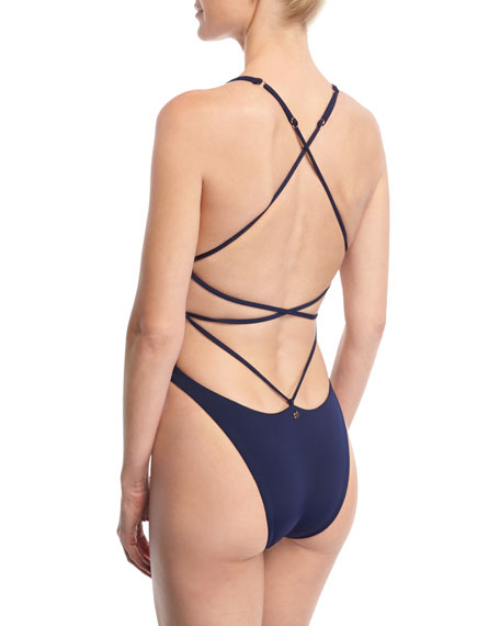 Anja High-Leg Strappy-Back One-Piece Swimsuit, Blue
