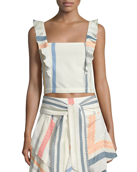 Alma Sleeveless Beach Crop Top, White Pattern