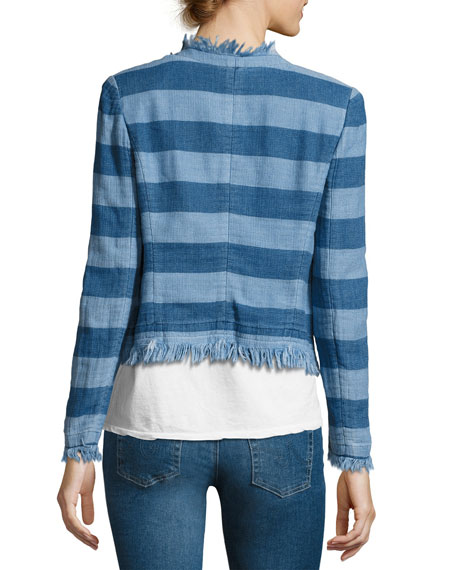 Capucine Striped Open-Front Denim Jacket, Blue