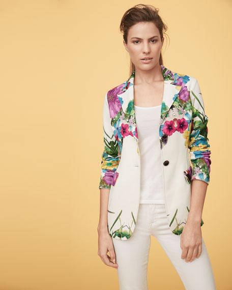 Flower Pop Two-Button Jacket, Petite