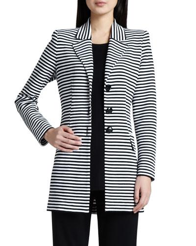 Amelie Long Striped Jacket, Plus Size