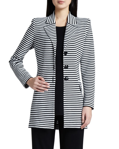 Misook Amelie Long Striped Jacket, Plus Size