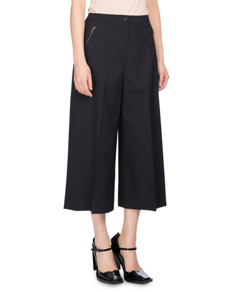 Kenzo Wide-Leg Mid-Rise Culotte Pants, Black and Matching