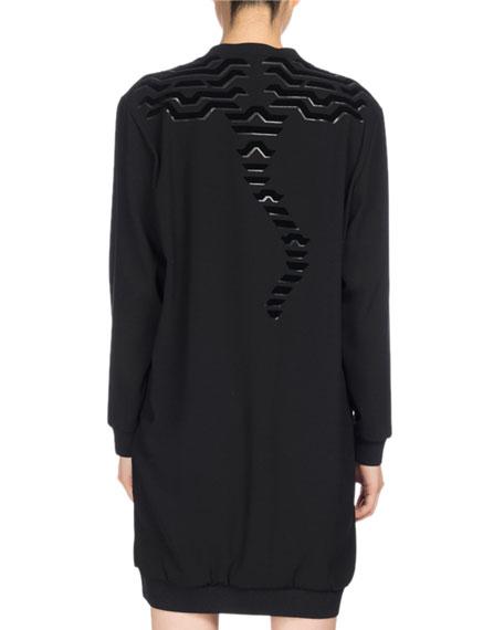 Long-Sleeve Graphic Sweaterdress, Black