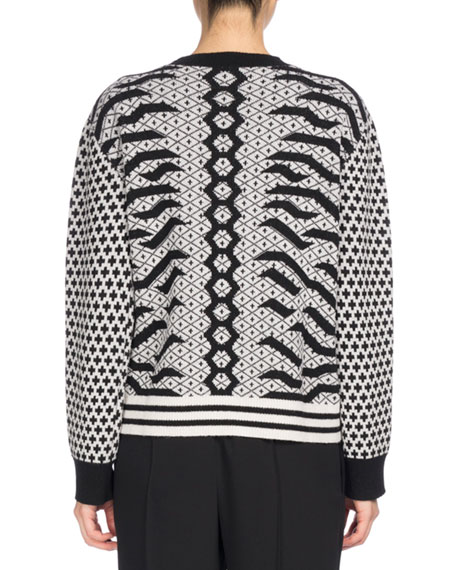 Crew Neck Embellished Mixed-Print Sweater, Black