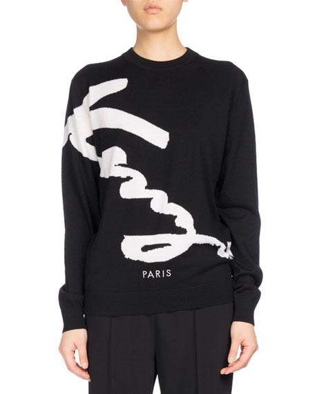 Kenzo Signature Classic Pullover Sweater, Black