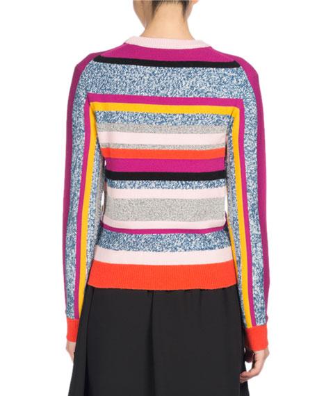 Broken Stripe Crewneck Fitted Sweater, Pink Pattern