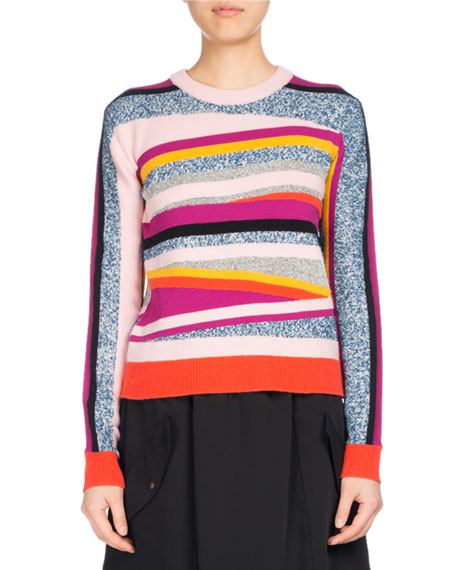 Kenzo Broken Stripe Crewneck Fitted Sweater, Pink Pattern