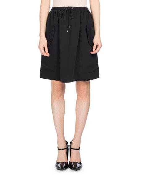 Kenzo Short Jog-Style Flare Skirt, Black and Matching