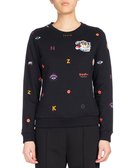 Kenzo Allover Multi-Icons Classic Sweater, Black