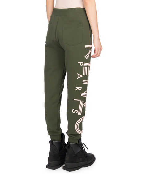 Classic Logo-Side Cotton Jogger Pants, Olive