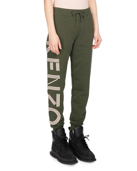 Kenzo Classic Logo-Side Cotton Jogger Pants, Olive and