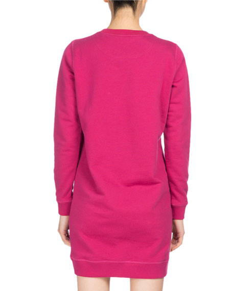 Tiger Classic Sweatshirt Dress, Fuchsia