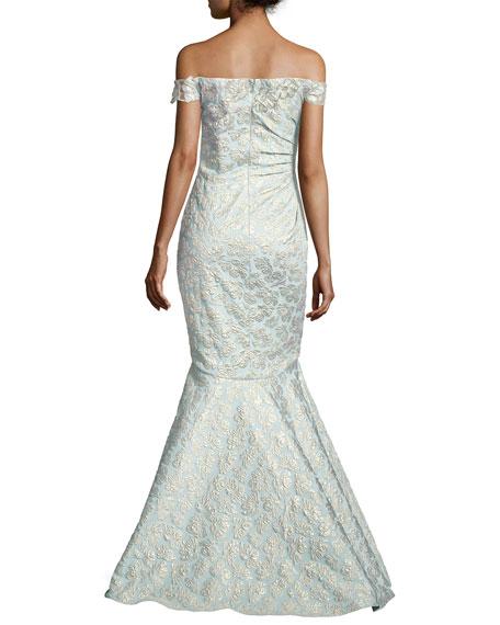 Off-the-Shoulder Jacquard Siren Gown, Light Blue