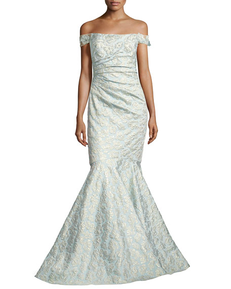 Off-the-Shoulder Jacquard Siren Gown, Light Blue