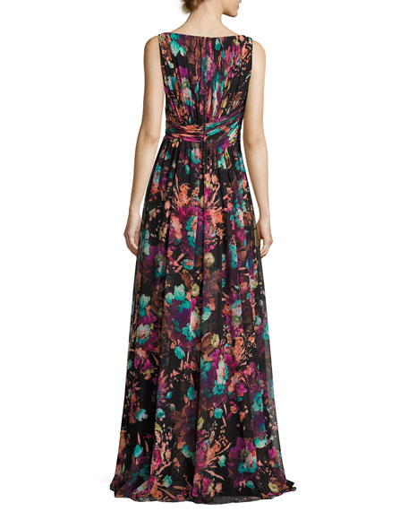 Sleeveless Ruched Floral Chiffon Gown, Black/Multicolor