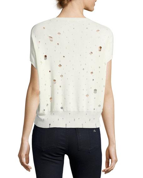 Short-Sleeve U-Neck Distressed Sweater, White