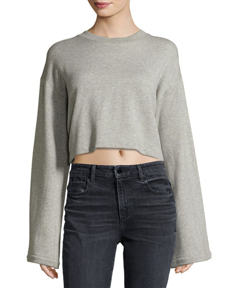 T by Alexander Wang Tie-Back Long-Sleeve Sweatshirt, Gray