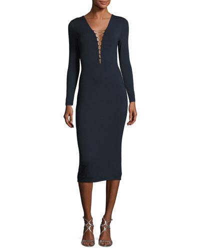 Lace-Up Long Sleeve Midi Dress, Navy