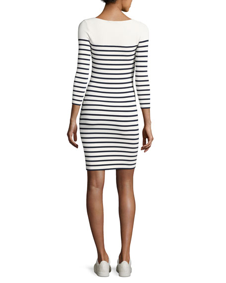 Long-Sleeve Striped Mini Dress, White