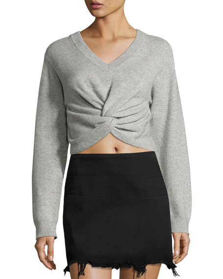 T by Alexander Wang Long-Sleeve Twist-Front Sweater, Gray