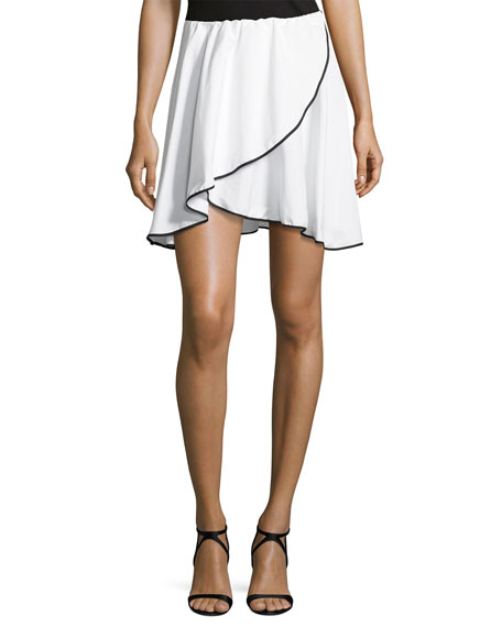 Caroline Constas Crossover Short Skirt, White