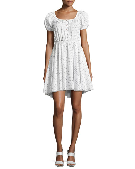 Caroline Constas Bardot Dotted Cotton Dress, White