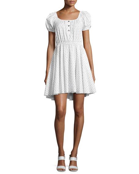 Bardot Dotted Cotton Dress, White