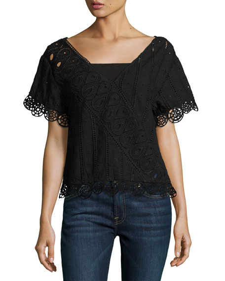 Anglaise Popover Embroidered Top, Black