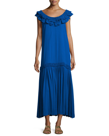 Opening Ceremony Silk Chiffon Ruffle Maxi Dress, Royal