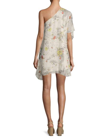Take It Easy One-Shoulder Silk Mini Dress