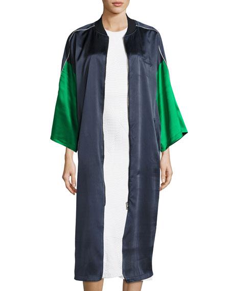 Reversible Silk Kimono Robe, Navy