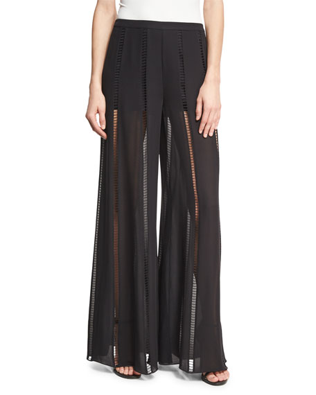 Haute Hippie The Lita Ladder-Stitch Silk Pants, Black