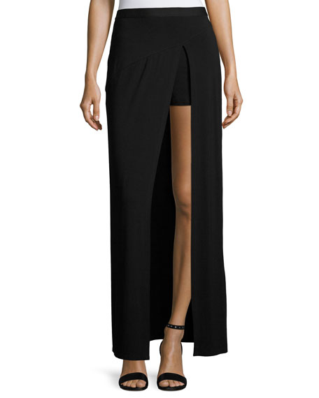 Haute Hippie Slayer Jersey Slit Maxi Skirt, Black