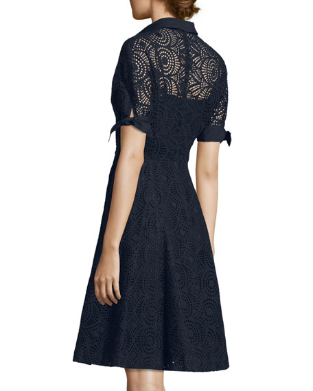 Short-Sleeve Medallion Eyelet Dress, Navy
