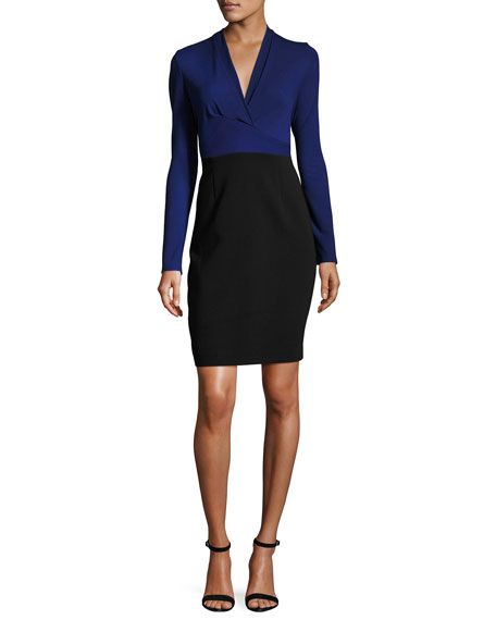 Elie Tahari Heather Long-Sleeve Two-Tone Sheath Dress, Blue