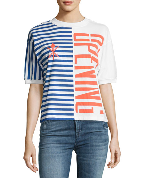 Opening Ceremony Striped Stretch Logo Tee, Multicolor