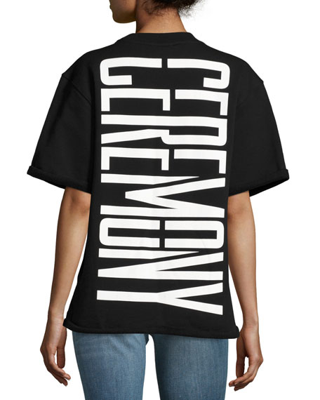 Stretch Logo Cutoff Sweatshirt Top, Black