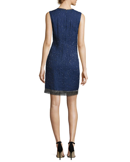 Marcy Sleeveless Beaded Silk Cocktail Dress, Navy