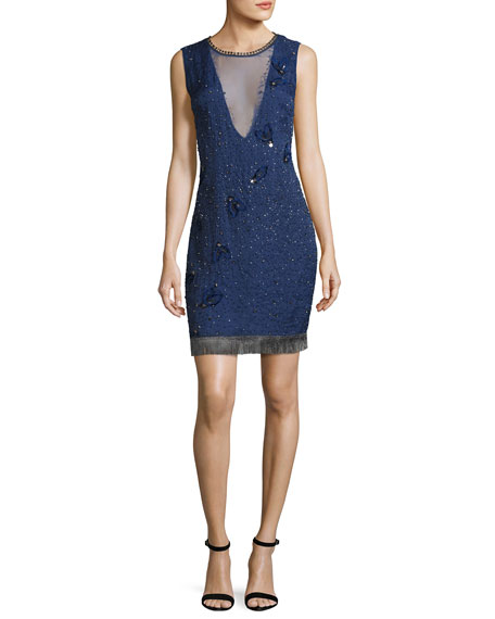 Elie Tahari Marcy Sleeveless Beaded Silk Cocktail Dress,