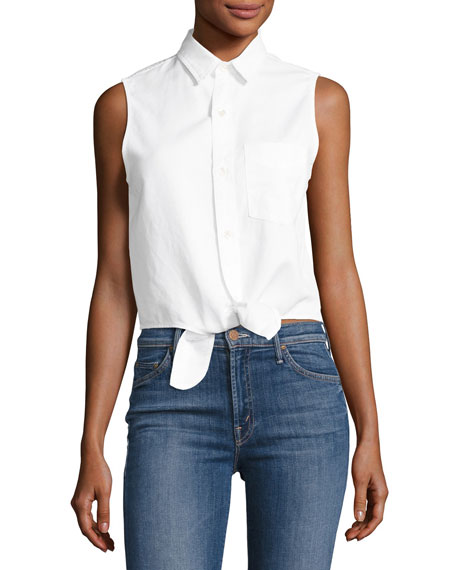 Mother Denim Foxy Knot Sleeveless Button-Front Top, White