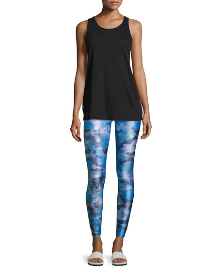 Tall Waistband Printed Performance Leggings, Blue Pattern