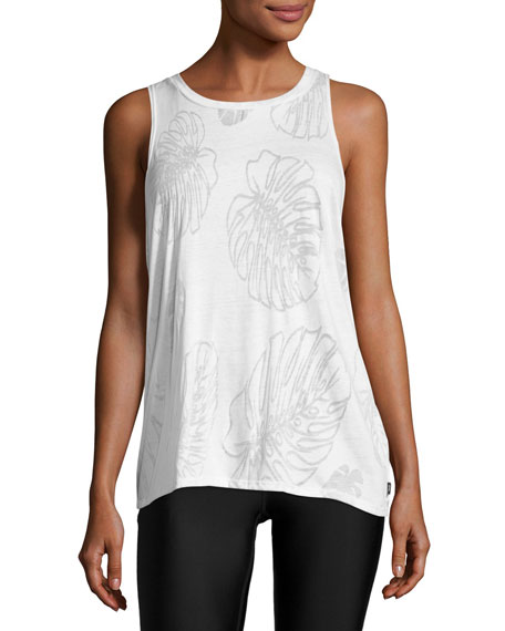 Terez Muscle Racer Burnout Tank, White Pattern