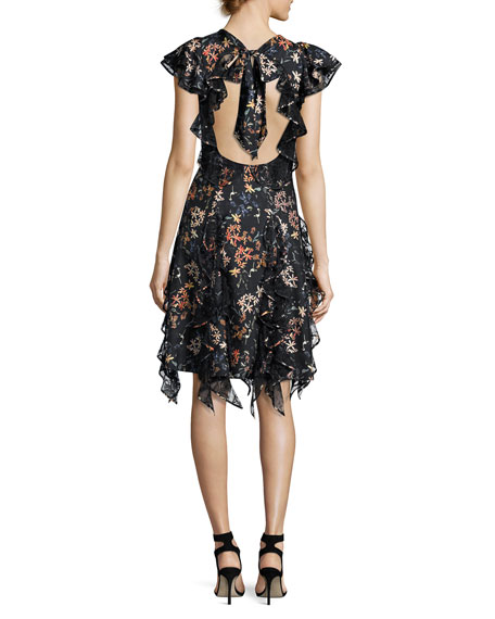 Tutu Garden Floral Cocktail Dress, Jet
