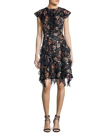 Tutu Garden Floral Cocktail Dress, Jet