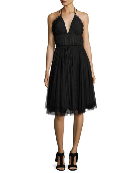 Leigh Strappy Tulle Cocktail Dress, Jet