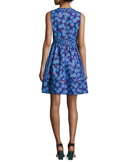 sleeveless tangier floral fit-and-flare dress, blue