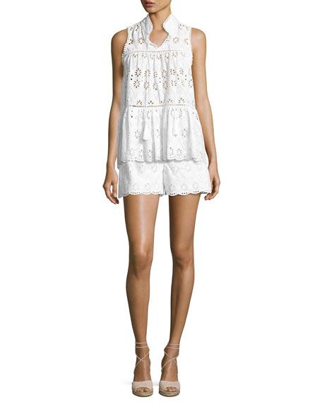 cotton high-rise eyelet shorts, fresh white