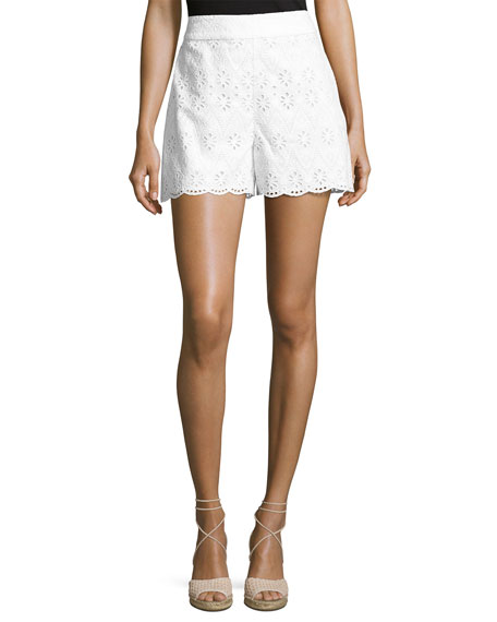 cotton high-rise eyelet shorts, fresh white